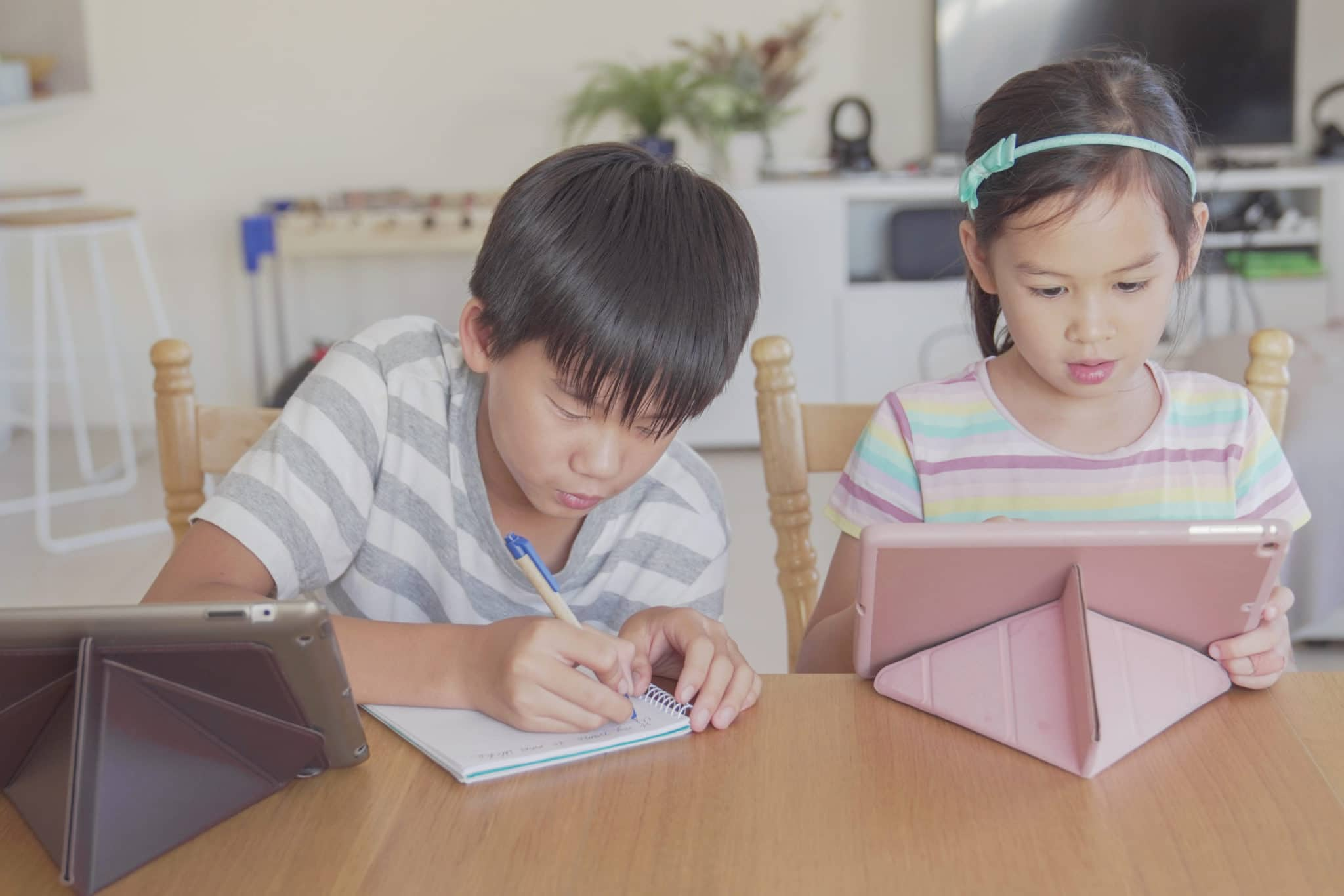 two siblings each have access to technology
