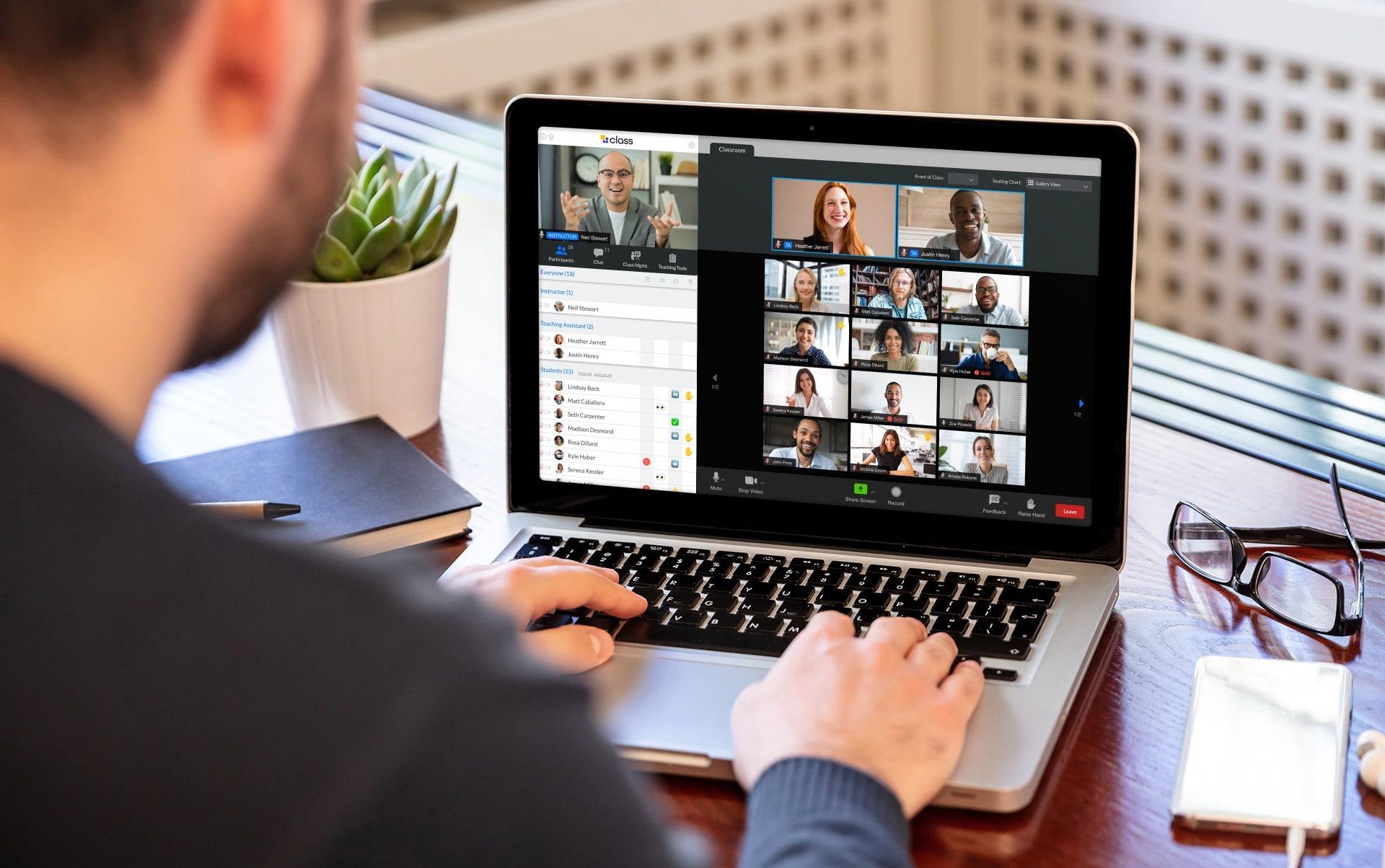 employee tries virtual team meeting ideas