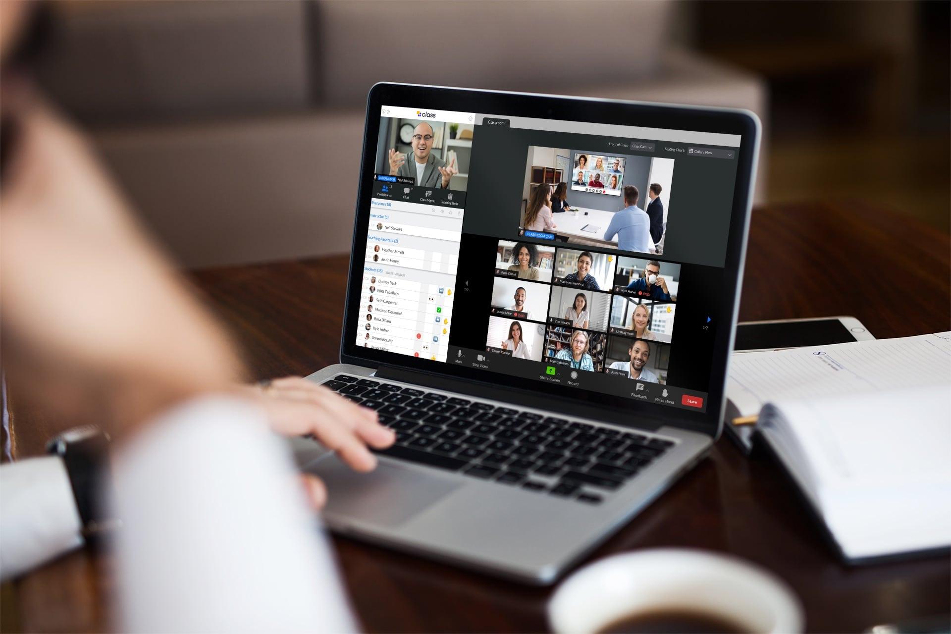 man in hybrid workspace does virtual team icebreakers